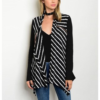 JED Women's Black and White Polyester, Cotton, and Spandex Striped Drapey-front Cardigan