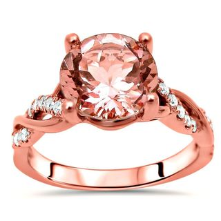 Noori 14k Rose Gold 1 3/5ct TGW Round Morganite and 1/5ct TDW Diamond Engagement Ring (F-G, SI1-SI2)