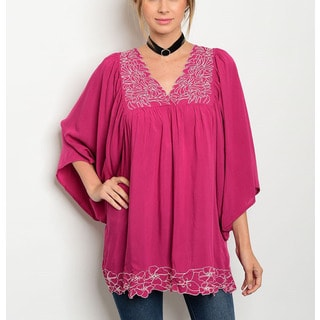JED Women's Pink Rayon Flutter Sleeve Embroidered Tunic Top