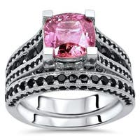 Noori 14k Gold GIA Certified 2 1/5ct TGW Pink Sapphire and 1 1/2ct TDW Black Diamond Engagement Ring