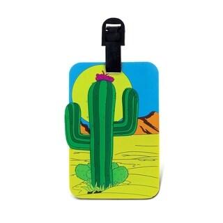 Puzzled Multicolor Cactus Luggage Tag