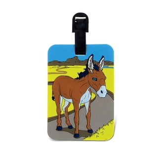 Puzzled Donkey Multicolor Plastic Luggage Tag