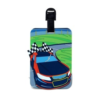 Puzzled Multicolored Plastic Race Car Luggage Tag