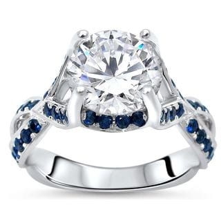 Noori 14k White Gold 2 3/4ct TGW Round Moissanite and 3/4ct Sapphire Engagement Ring