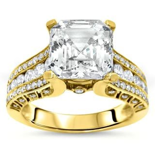 Noori 14k Yellow Gold 2ct TGW Asscher Moissanite and 3/4ct TDW Diamond Engagement Ring (G-H, SI1-SI2)