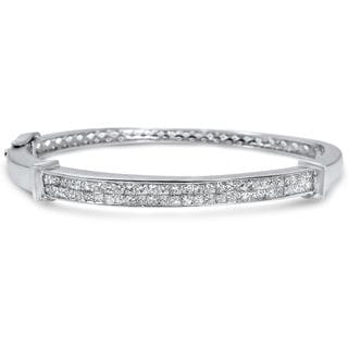Noori 14k White Gold 2 1/4ct TDW Princess-cut Diamond Bangle Bracelet (I-J, I1-I2)