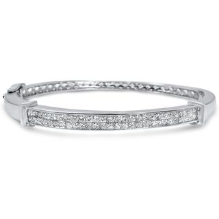 Noori 14k White Gold 2 1/4ct TDW Princess-cut Diamond Bangle Bracelet
