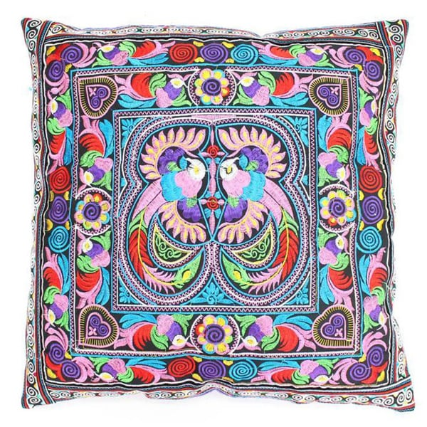 Handmade Cotton Hmong Multicolored Embroidered Pillow Cover (Thailand)