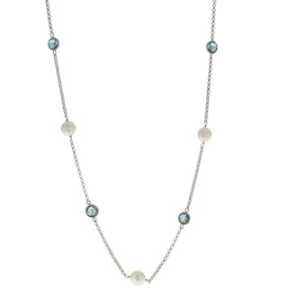 Pearls For You Sterling Silver 8- to 8.5-millimeter White Freshwater Pearl and London Blue Topaz 18-inch Necklace