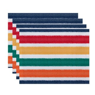 Fun in the Sun' Colorful Stripe Print Placemats (Set of 4)
