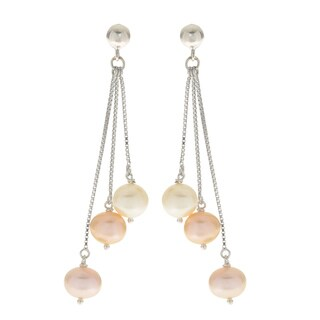 Pearls For You Sterling Silver Multicolor 7.5- to 8.5-millimeter Freshwater Pearl Dangle Earrings