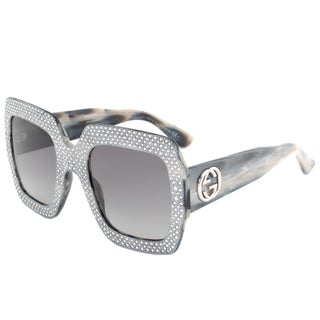 Gucci GG 3861S Y4XVK Silver Crystal Frame Grey Gradient Lens Women's Sunglasses