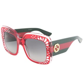 Gucci GG 3862S YL9VK Red Crystal Frame Grey Gradient Lens Women's Sunglasses