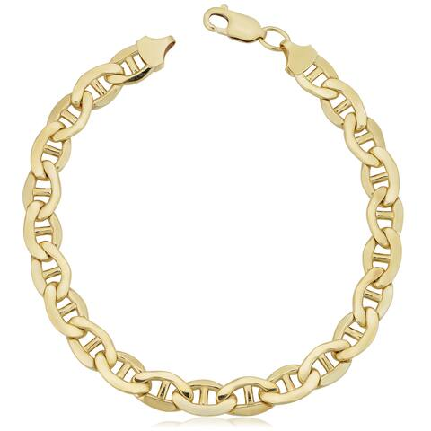 Fremada 14k Yellow Gold Filled 7.8-mm Mariner Link Chain Men's Bracelet (9 inches)