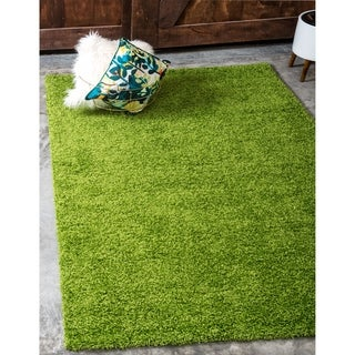 Grass Green Polypropylene Solid Shag Rug (4' x 6')