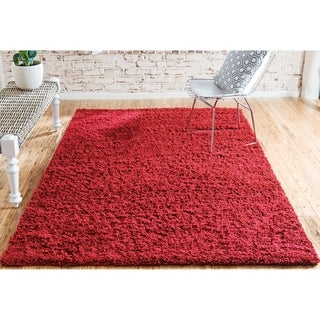 Solid Cherry Red Shag Rug (4' x 6')