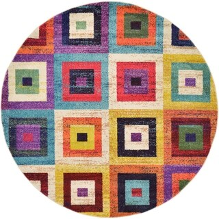 Round Abstract Multi Square Barcelona Area Rug (6' x 6')