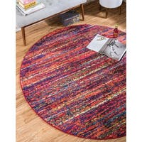 Round Blended Stripes Multicolor Modern Barcelona Rug (6' x 6')