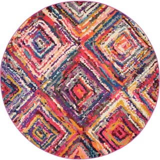 Round Abstract Square Multicolor Barcelona Area Rug (6 x 6)