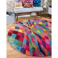 Round Abstract Checkered Multicolor Modern Barcelona Area Rug (6' x 6')