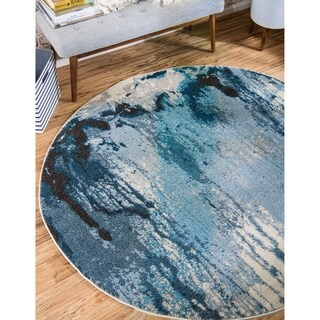Round Light Blue Barcelona Area Rug (6' x 6')