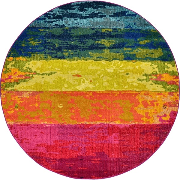 Round Abstract Striped Multicolor Modern Barcelona Area Rug (6' x 6')