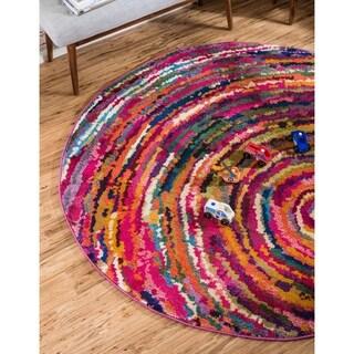Round Carmine Multicolor Barcelona Area Rug (6' x 6')