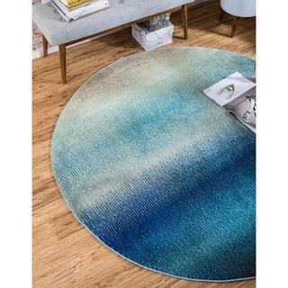 Round Blue Modern Barcelona Area Rug (6' x 6')