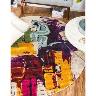 Round Abstract Almond Modern Barcelona Area Rug (6' x 6')