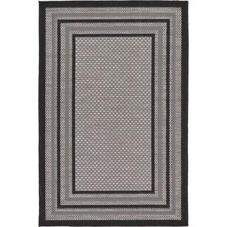 Grey Polypropylene Indoor/Outdoor Bordered Rug (3'2 x 4'11)