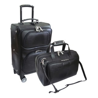 Amerileather Black Leather Lizard-Print 2-piece Spinner Luggage Set