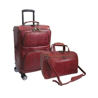 Amerileather Dark Brown Leather Lizard-Print 2-piece Spinner Luggage Set