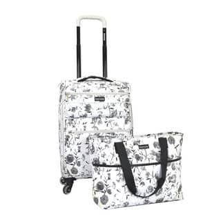 Kensie White Flower 2-piece Expandable Spinner Luggage Set|https://ak1.ostkcdn.com/images/products/13399790/P20095964.jpg?impolicy=medium