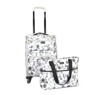 Kensie White Flower 2-piece Expandable Spinner Luggage Set