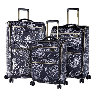 Kensie Black Floral 3-piece Expandable Spinner Luggage Set
