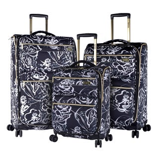Kensie Black Floral 3-piece Expandable Spinner Luggage Set