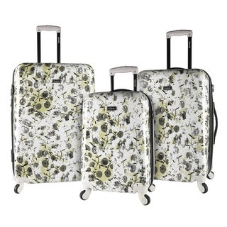Kensie White Flower 3-piece Expandable Hardside Spinner Luggage Set