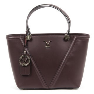 Versace 1969 V Italia V Signature Leather Burgundy Tote Bag