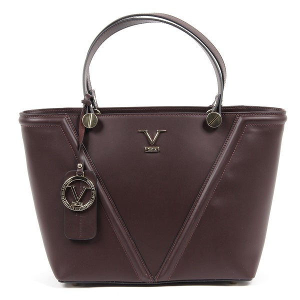1969 V Italia Signature Leather Burgundy Tote Bag