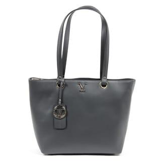 Versace 1969 V Italia Leather Grey Tote Bag
