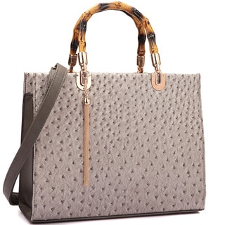 Dasein Ostrich Print Wooden Handle Faux Leather Satchel Handbag