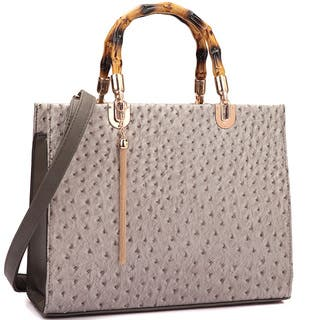 Dasein Ostrich Print Wooden Handle Faux Leather Satchel Handbag|https://ak1.ostkcdn.com/images/products/13399924/P20096004.jpg?impolicy=medium