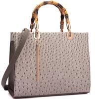 Dasein Ostrich Print Wooden Handle Faux Leather Satchel Handbag