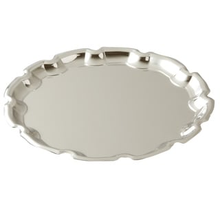 Elegance Nickel Plated Round Chippendale Tray 10""