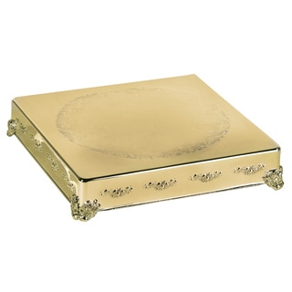 "Elegance 18"" Square Cake Plateau, Gold Finish"