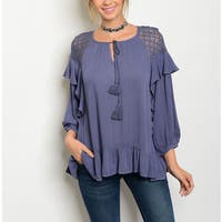 JED Women's Blue Rayon Crochet and Ruffles 3/4-sleeve Blouse