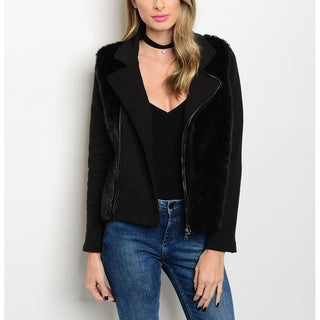 JED Women's Black Acrylic and Polyester Long-sleeve Biker Jacket with Vegan Fur Trim