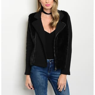 JED Women's Black Acrylic and Polyester Long-sleeve Biker Jacket with Vegan Fur Trim|https://ak1.ostkcdn.com/images/products/13399950/P20096025.jpg?impolicy=medium