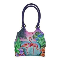 Women's ANNA by Anuschka Triple Compartment Medium Satchel 8160 Tropical Flamingo