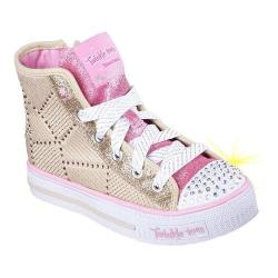 Girls' Skechers Twinkle Toes Shuffles Dazzle Dancer High Top Gold/Pink